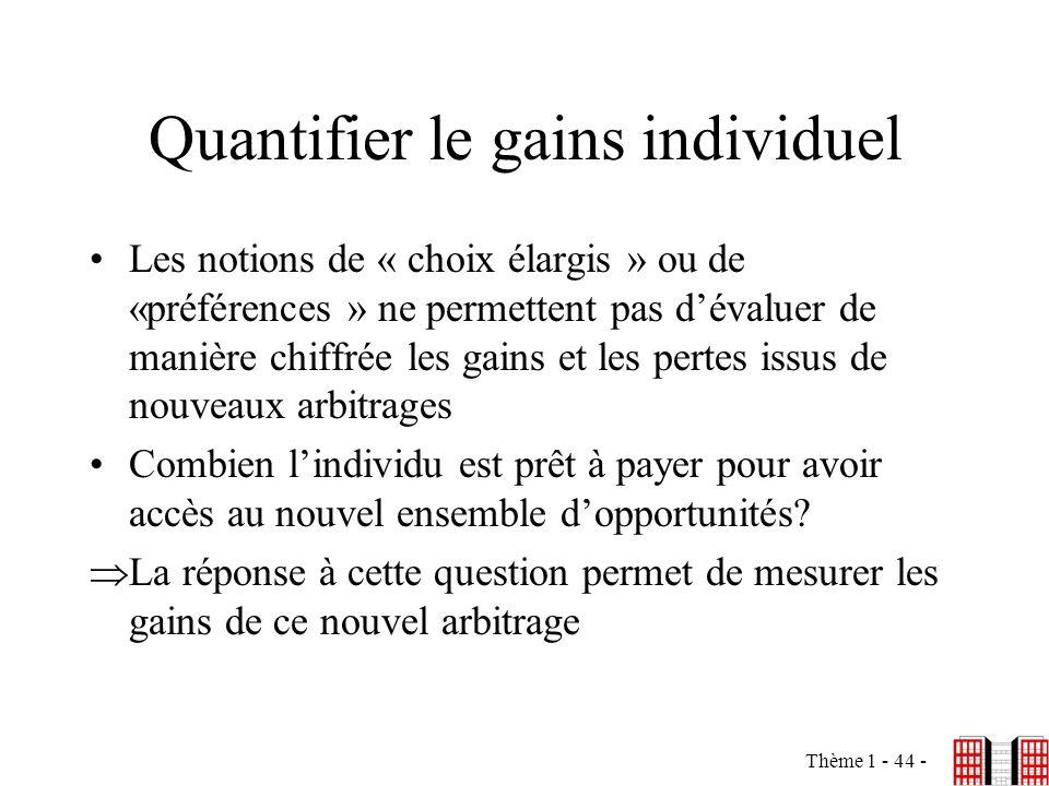 Quantifier le gains individuel