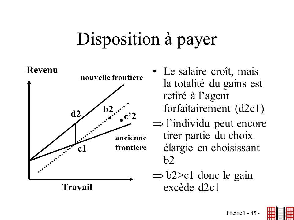 Disposition à payer Revenu. Le salaire croît, mais la totalité du gains est retiré à l'agent forfaitairement (d2c1)