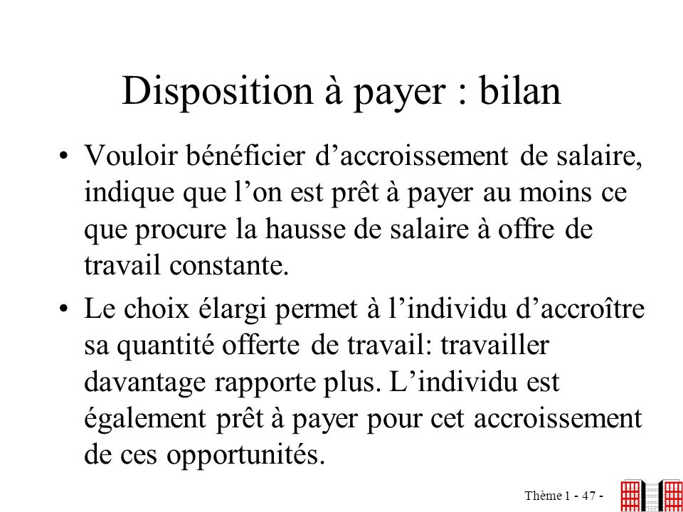 Disposition à payer : bilan