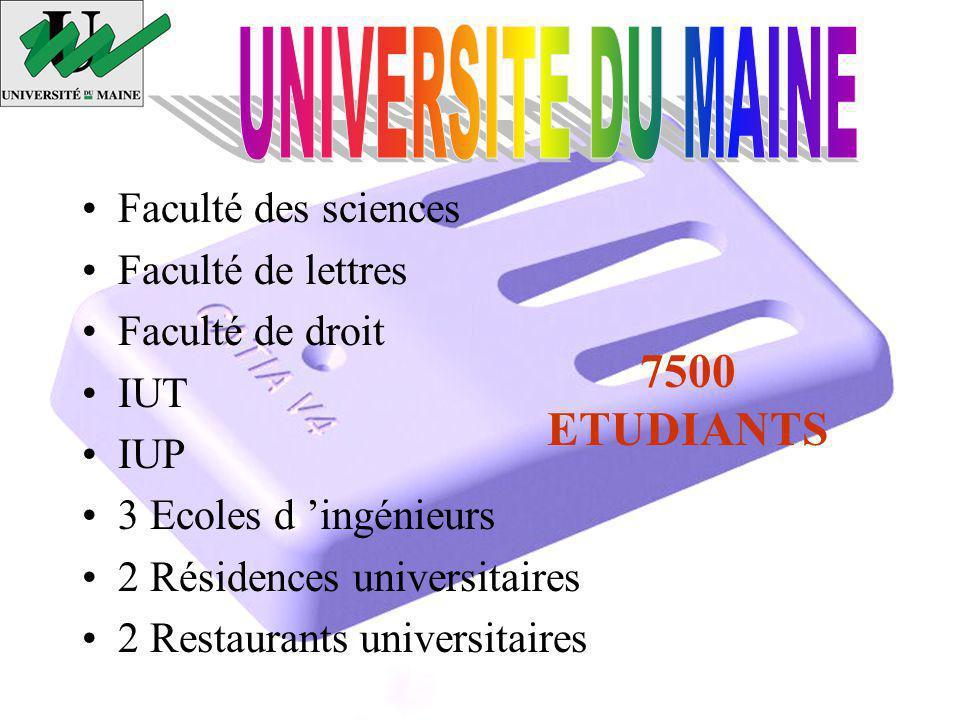 UNIVERSITE DU MAINE 7500 ETUDIANTS Faculté des sciences