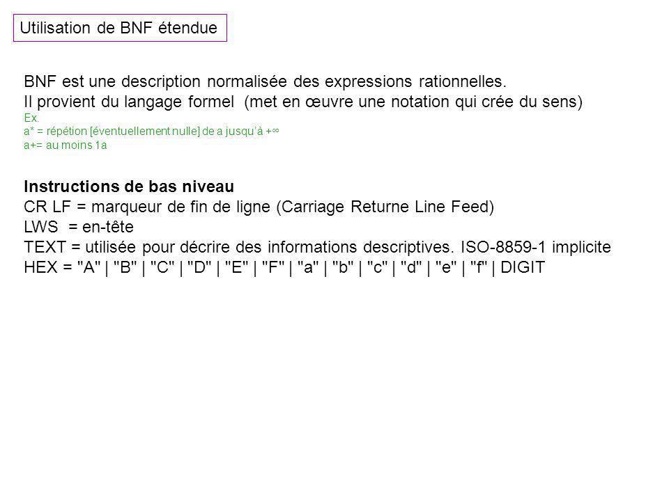 Utilisation de BNF étendue