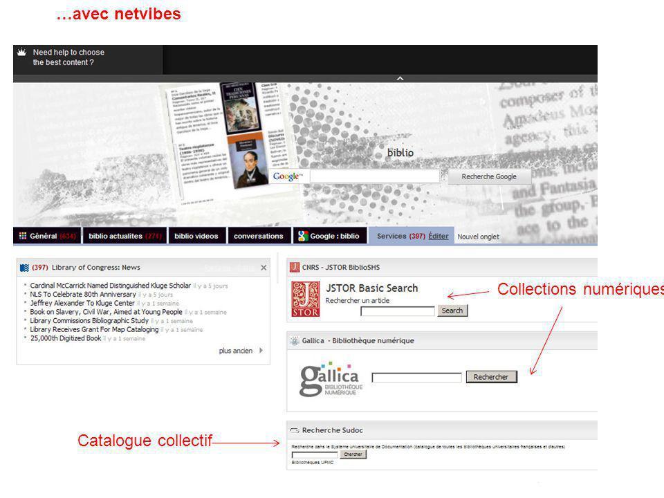 …avec netvibes Collections numériques Catalogue collectif