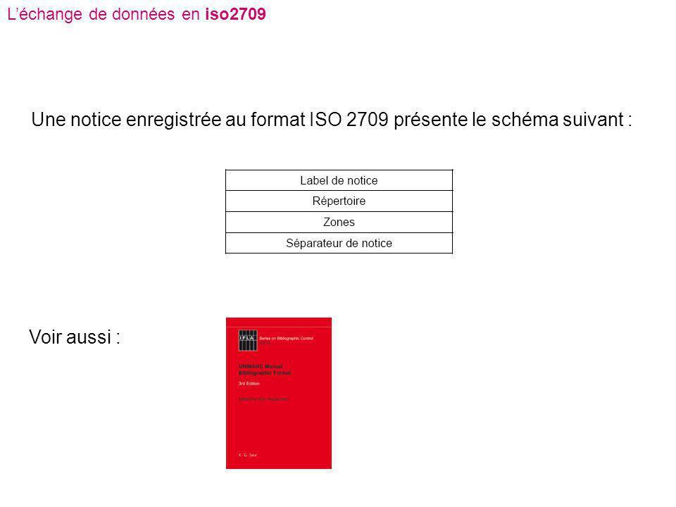 Une notice enregistrée au format ISO 2709 présente le schéma suivant :