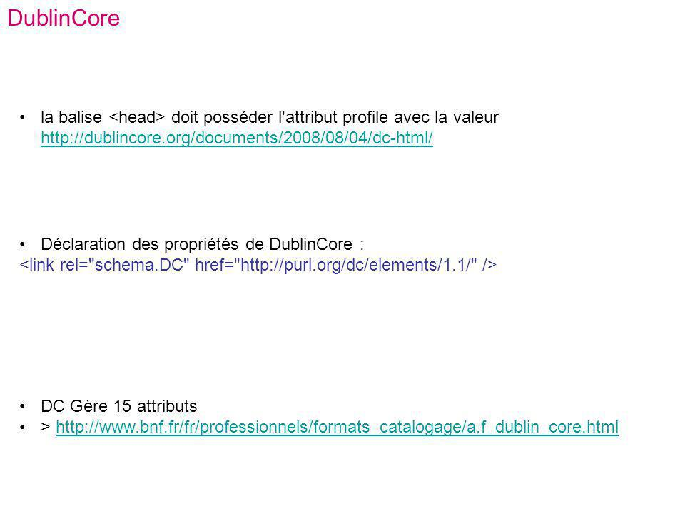 DublinCore la balise <head> doit posséder l attribut profile avec la valeur http://dublincore.org/documents/2008/08/04/dc-html/