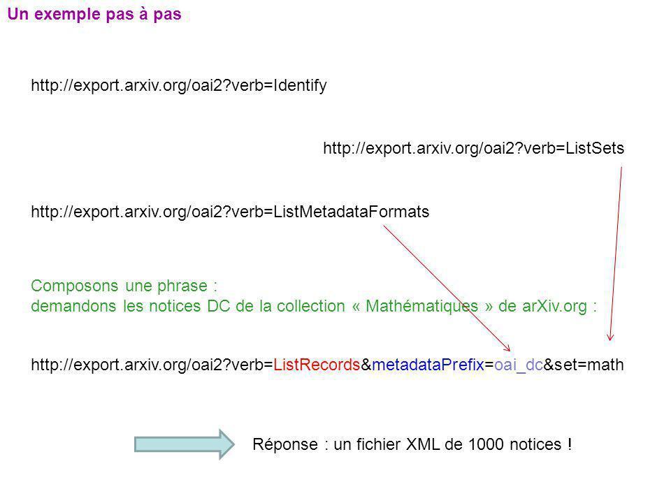 Un exemple pas à pas http://export.arxiv.org/oai2 verb=Identify. http://export.arxiv.org/oai2 verb=ListSets.