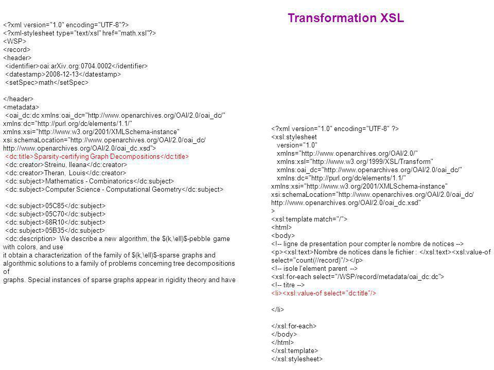 Transformation XSL < xml version= 1.0 encoding= UTF-8 >