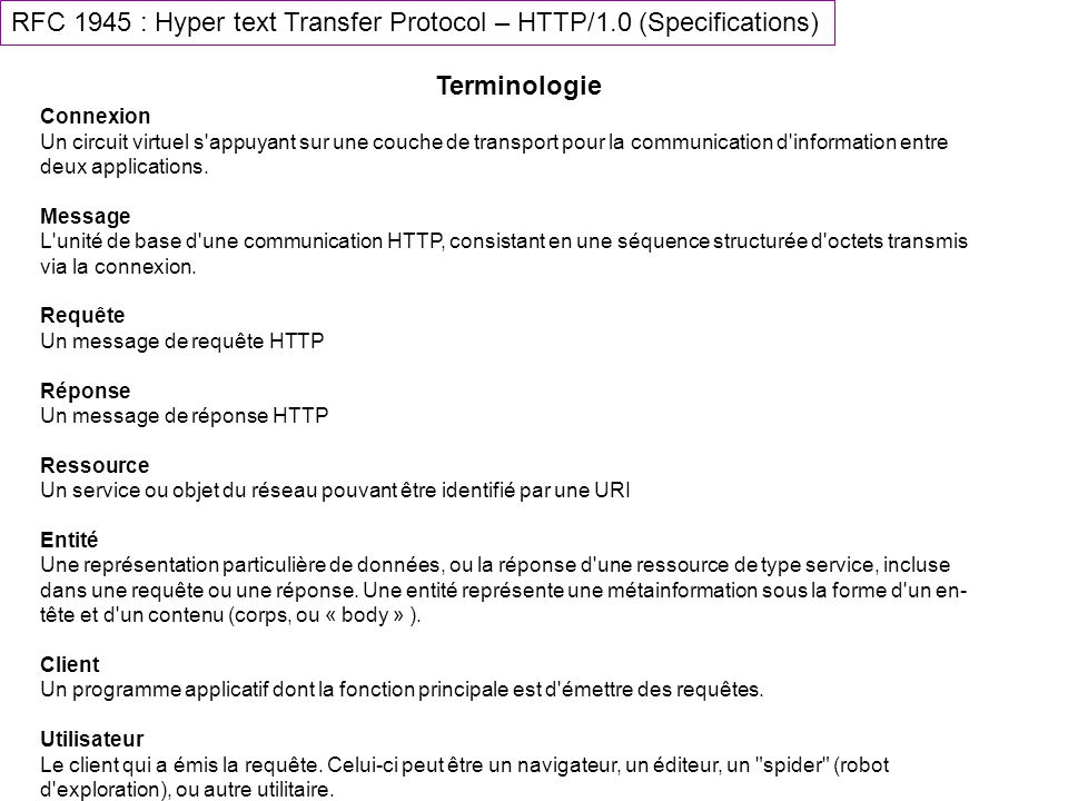 RFC 1945 : Hyper text Transfer Protocol – HTTP/1.0 (Specifications)