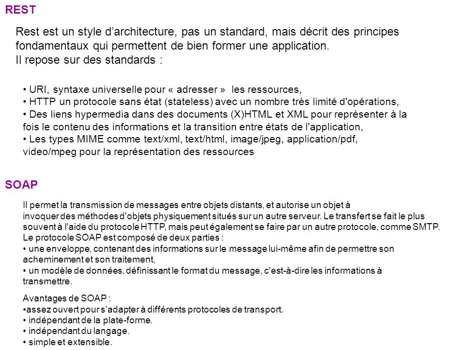 Il repose sur des standards :