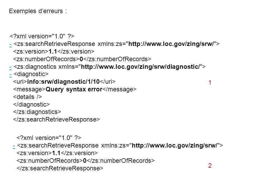 Exemples d'erreurs : < xml version= 1.0 > - <zs:searchRetrieveResponse xmlns:zs= http://www.loc.gov/zing/srw/ >
