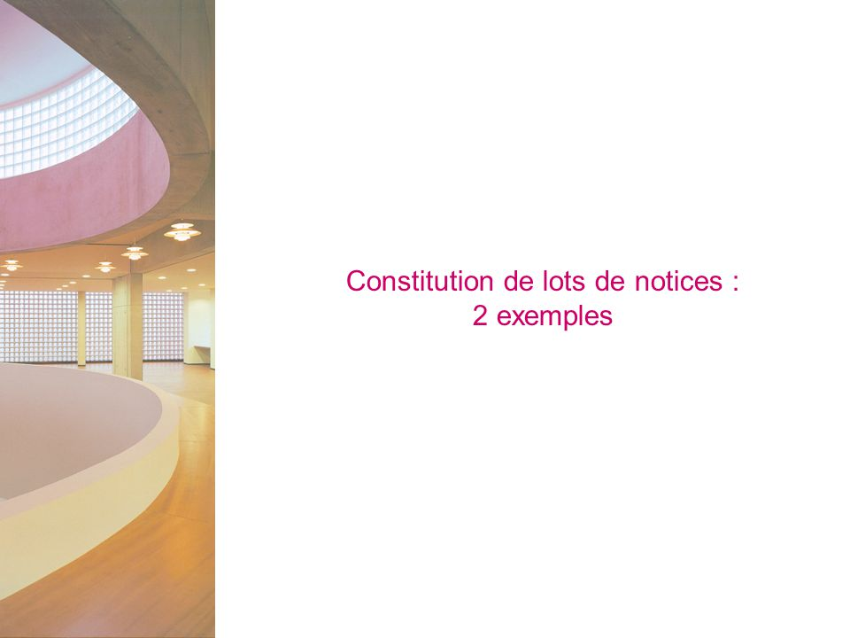 Constitution de lots de notices :