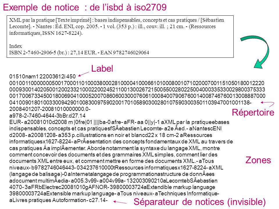Exemple de notice : de l'isbd à iso2709