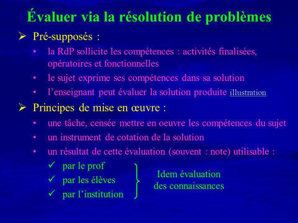 Évaluer via la résolution de problèmes