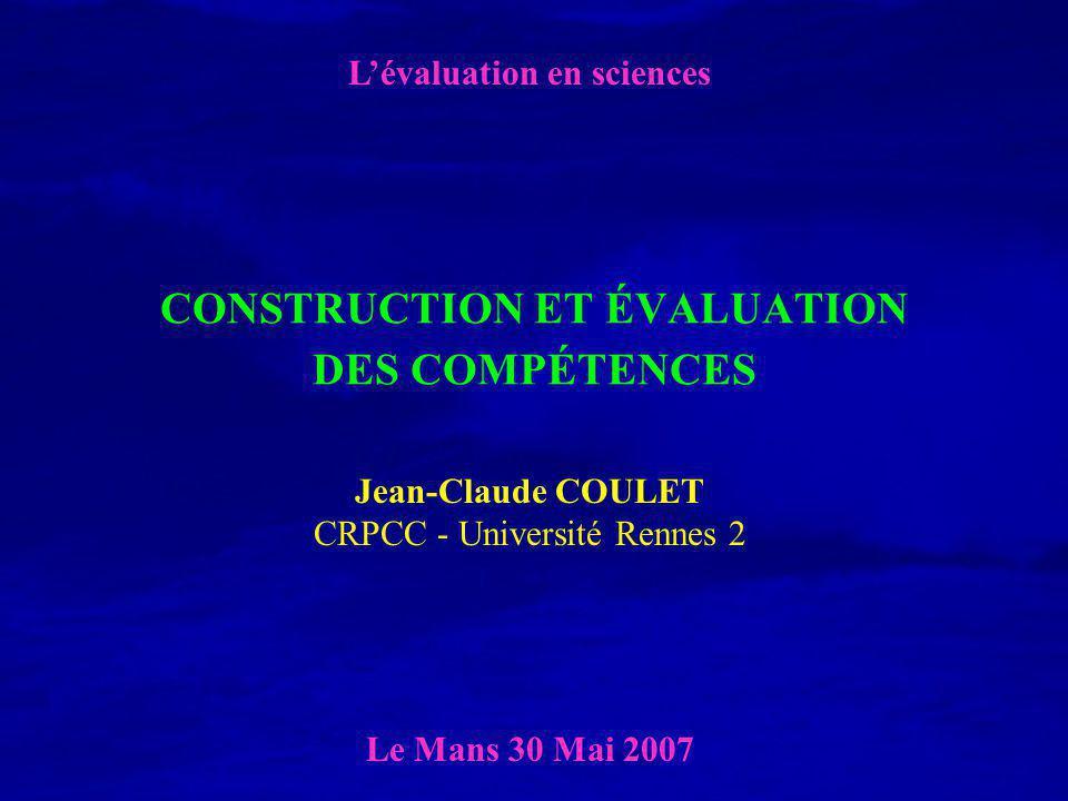 CONSTRUCTION ET ÉVALUATION DES COMPÉTENCES