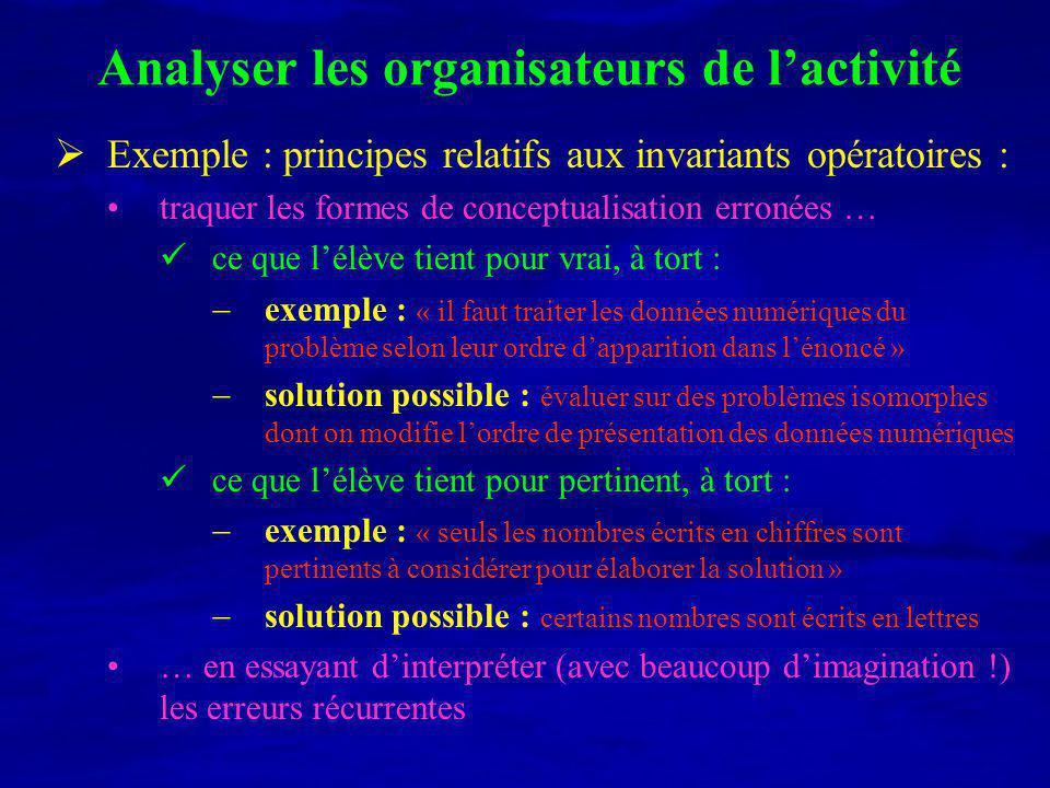 Analyser les organisateurs de l'activité