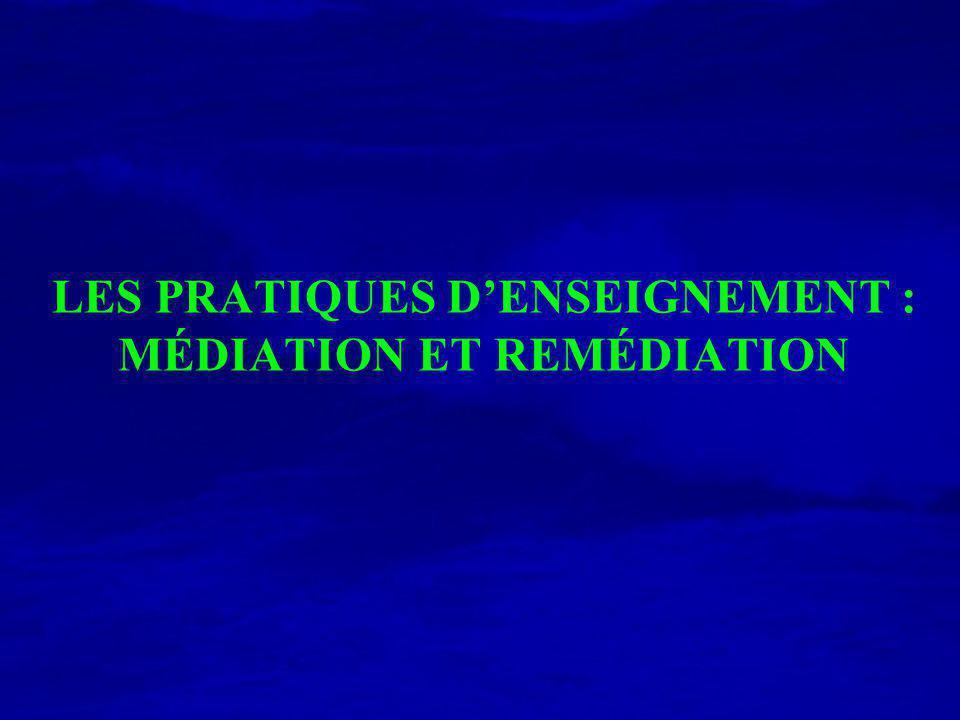 LES PRATIQUES D'ENSEIGNEMENT : MÉDIATION ET REMÉDIATION