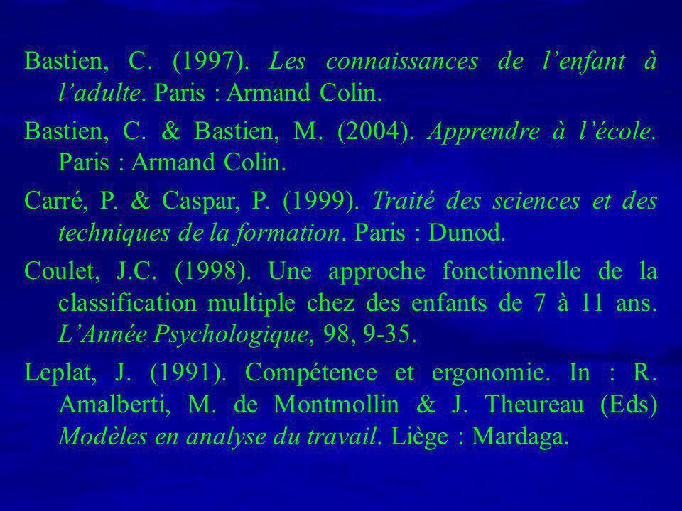 Bastien, C. (1997). Les connaissances de l'enfant à l'adulte