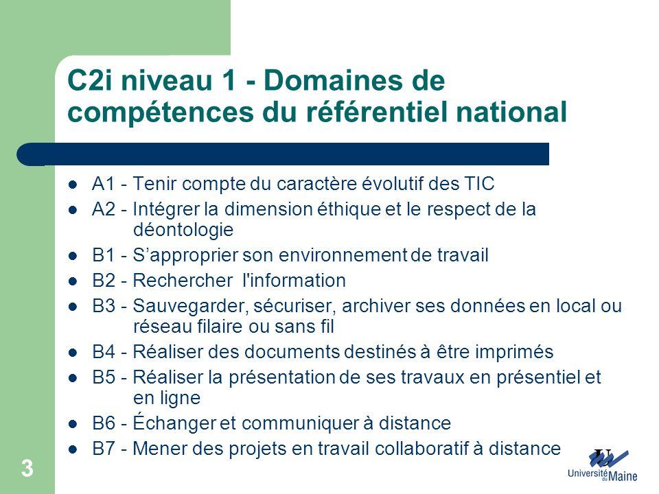 C2i niveau 1 - Domaines de compétences du référentiel national