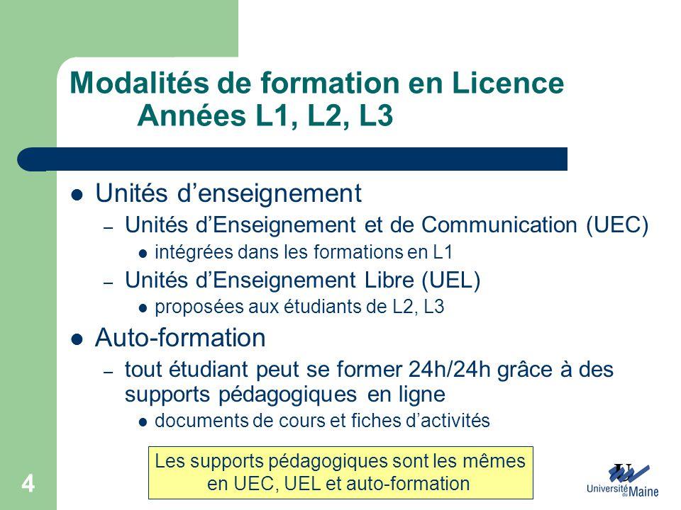 Modalités de formation en Licence Années L1, L2, L3