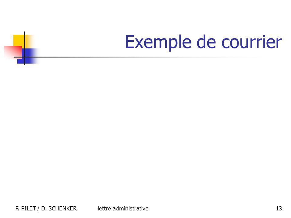 Exemple de courrier F. PILET / D. SCHENKER lettre administrative