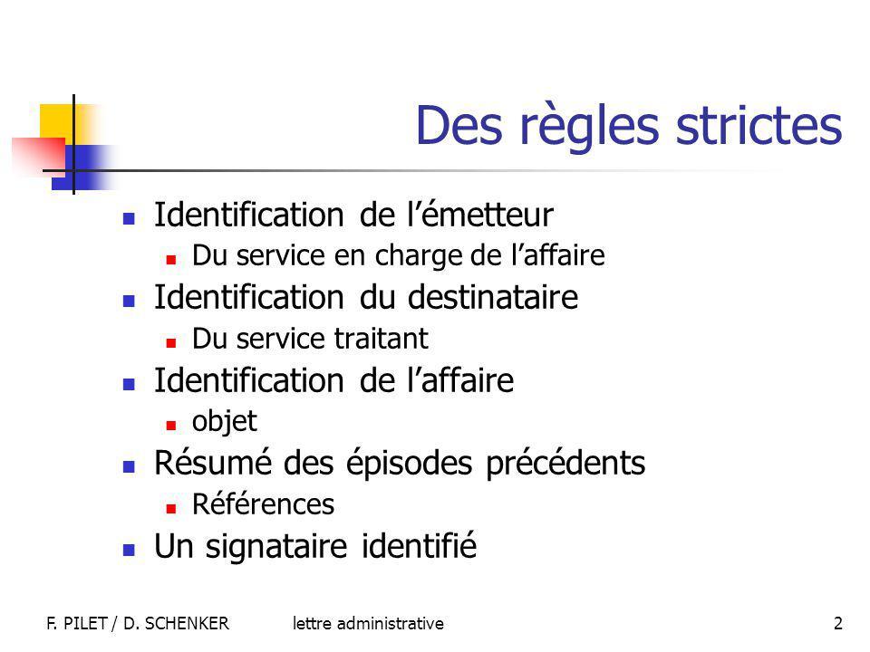 Des règles strictes Identification de l'émetteur