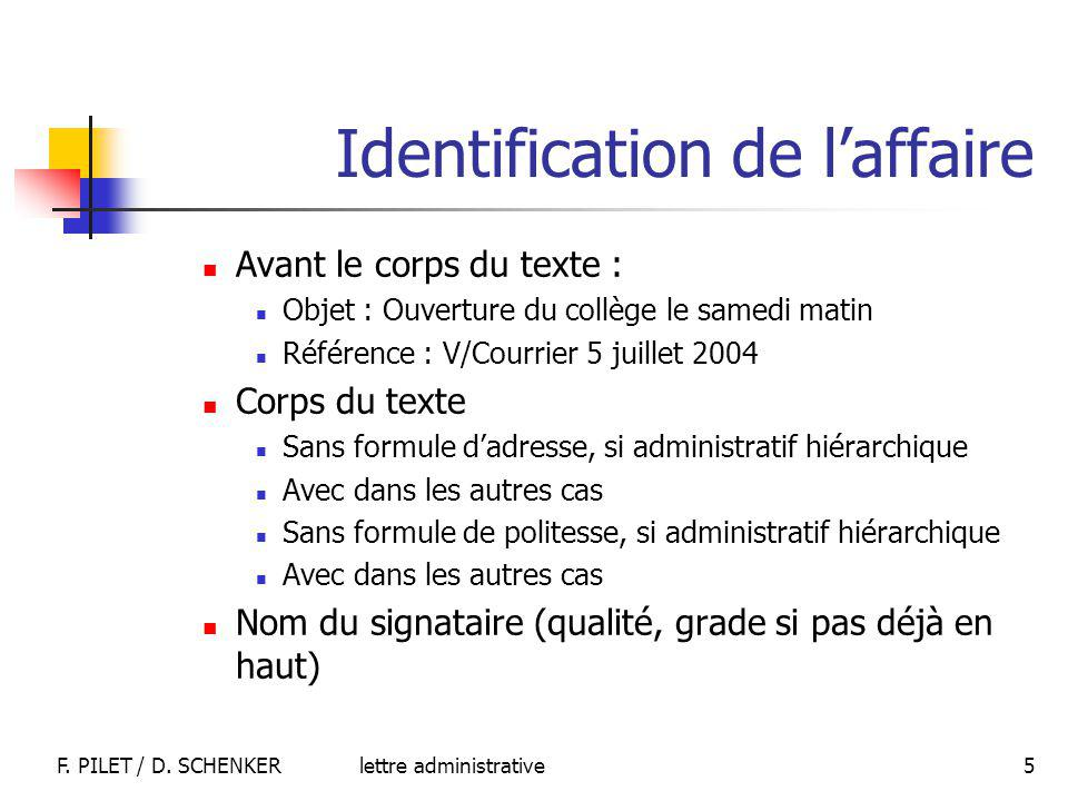 Identification de l'affaire