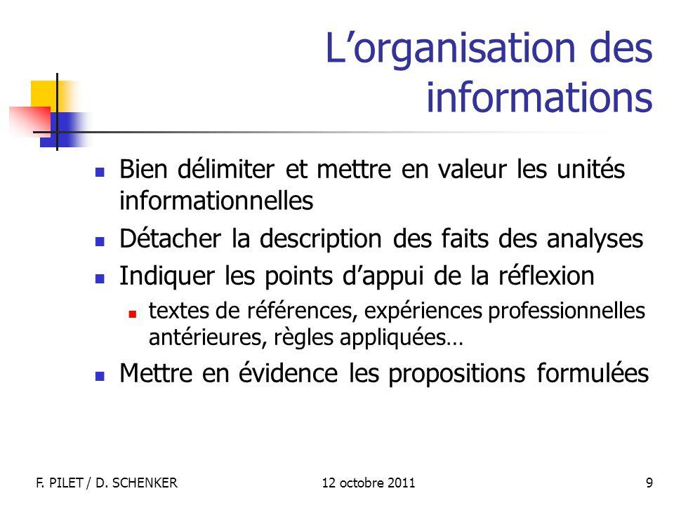 L'organisation des informations