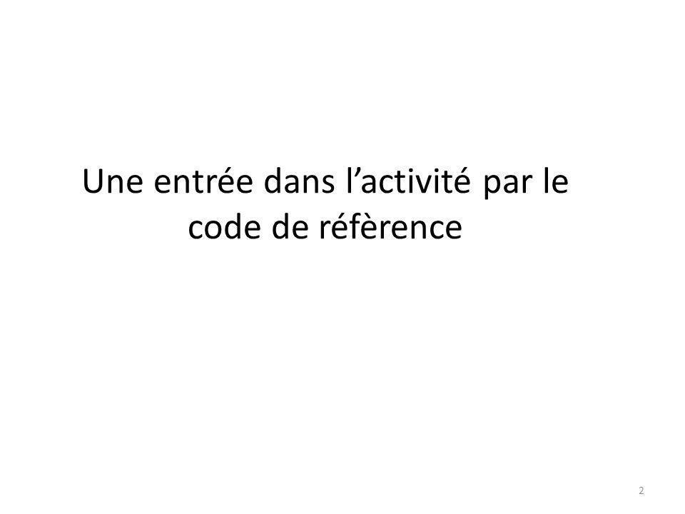 Une entrée dans l'activité par le code de réfèrence