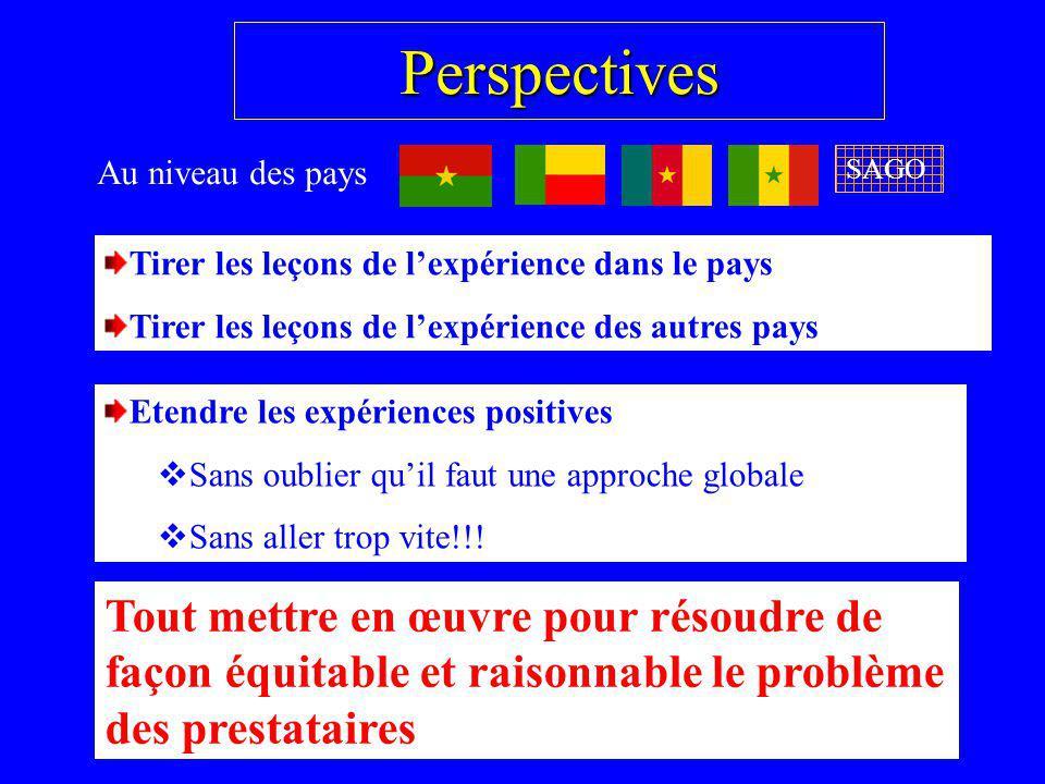 Perspectives Au niveau des pays. SAGO. Tirer les leçons de l'expérience dans le pays. Tirer les leçons de l'expérience des autres pays.