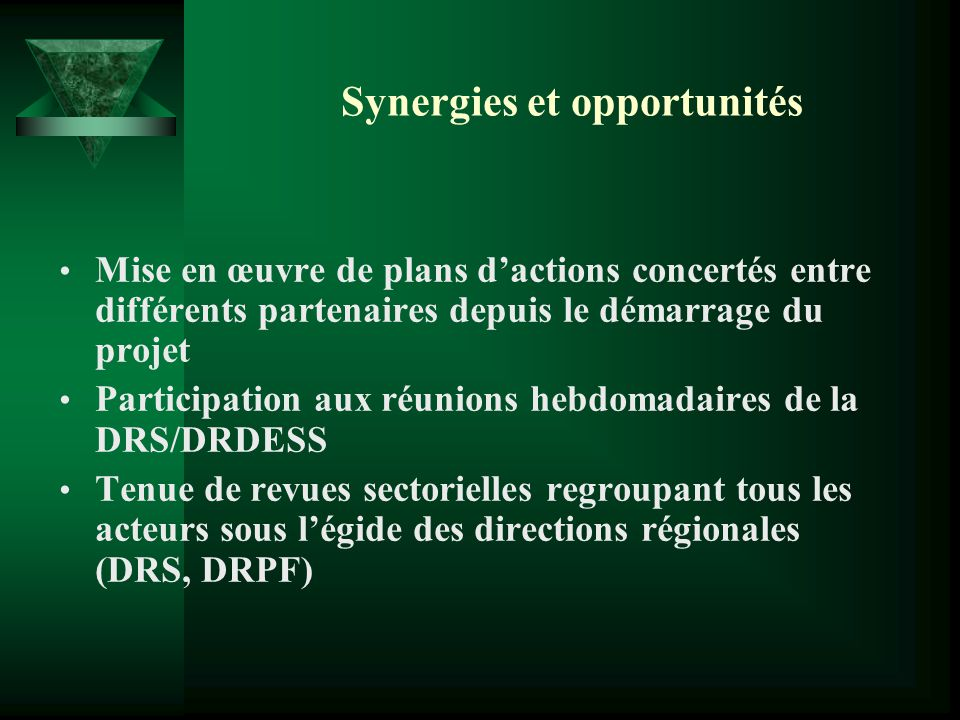 Synergies et opportunités