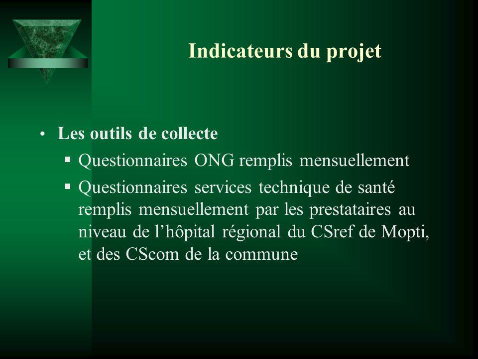 Indicateurs du projet Les outils de collecte