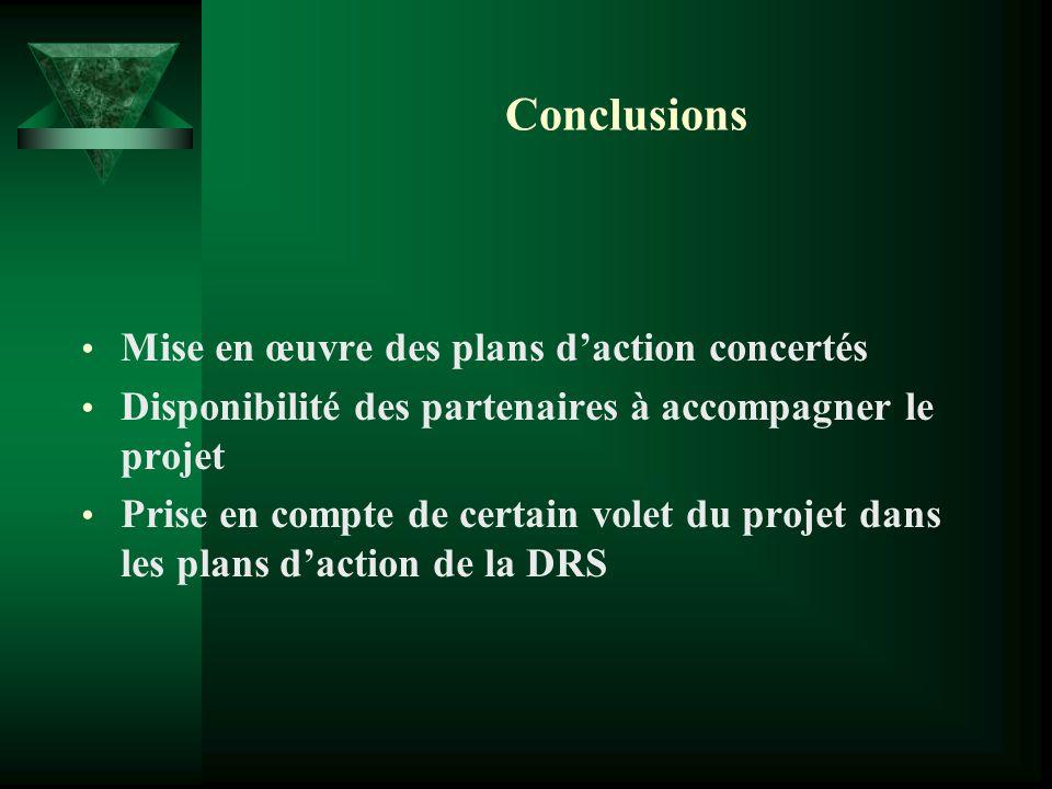 Conclusions Mise en œuvre des plans d'action concertés