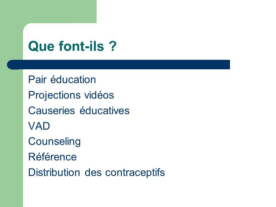 Que font-ils Pair éducation Projections vidéos Causeries éducatives