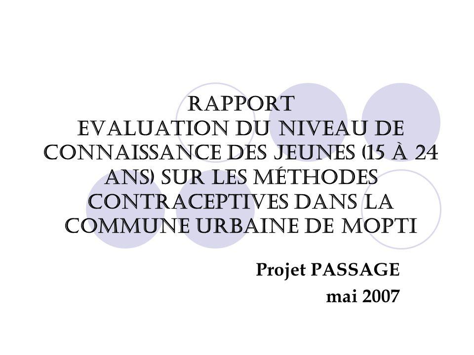 RAPPORT Evaluation du niveau de connaissance des jeunes (15 à 24 ans) sur les méthodes contraceptives dans la commune urbaine de Mopti