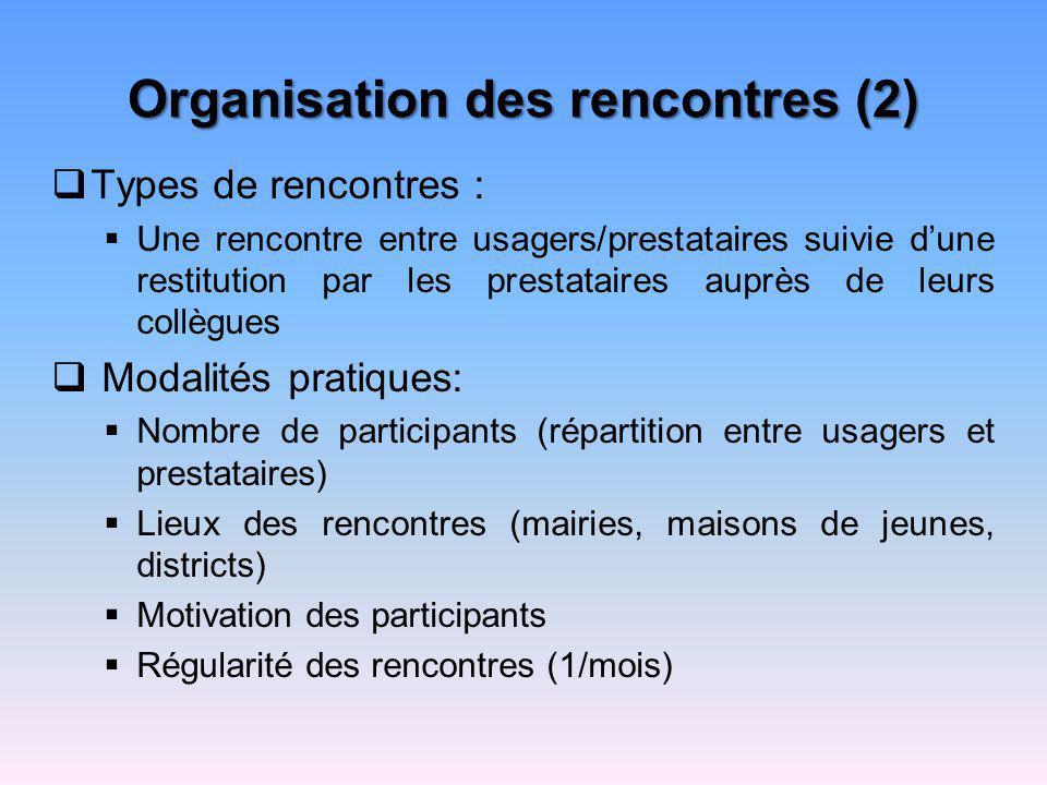 Organisation des rencontres (2)