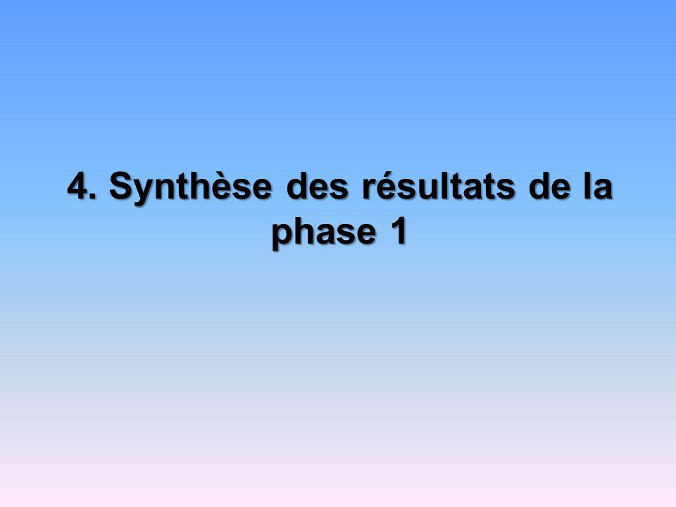 4. Synthèse des résultats de la phase 1
