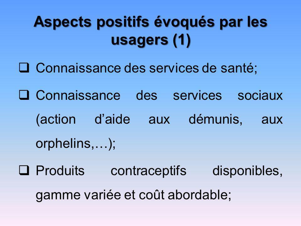 Aspects positifs évoqués par les usagers (1)