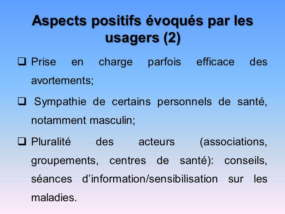 Aspects positifs évoqués par les usagers (2)