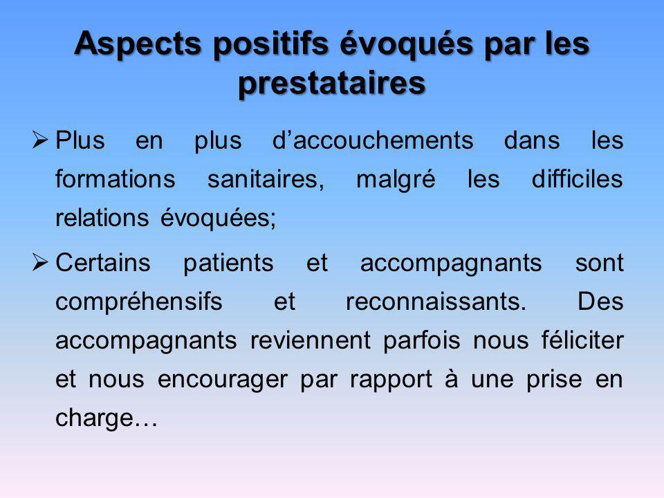 Aspects positifs évoqués par les prestataires