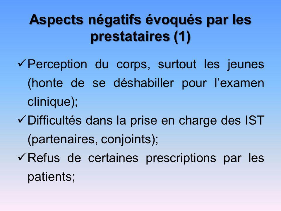 Aspects négatifs évoqués par les prestataires (1)