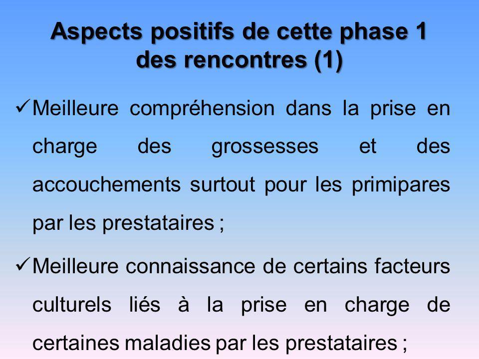 Aspects positifs de cette phase 1 des rencontres (1)