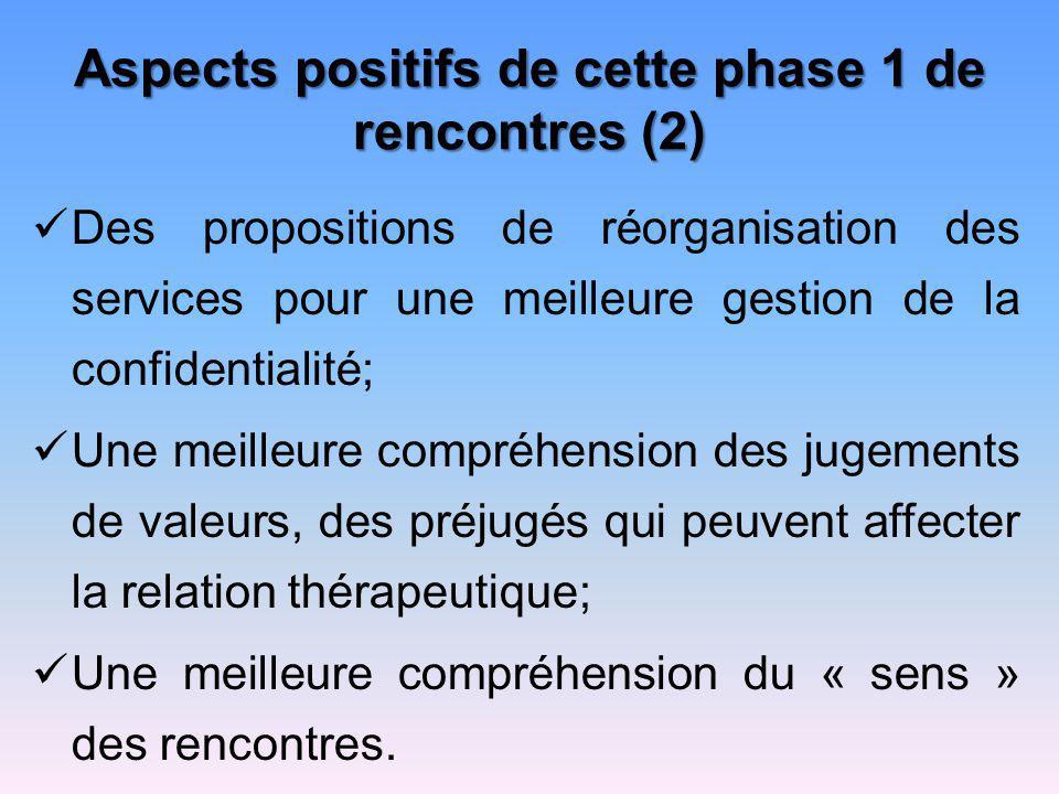 Aspects positifs de cette phase 1 de rencontres (2)