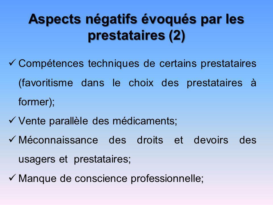 Aspects négatifs évoqués par les prestataires (2)