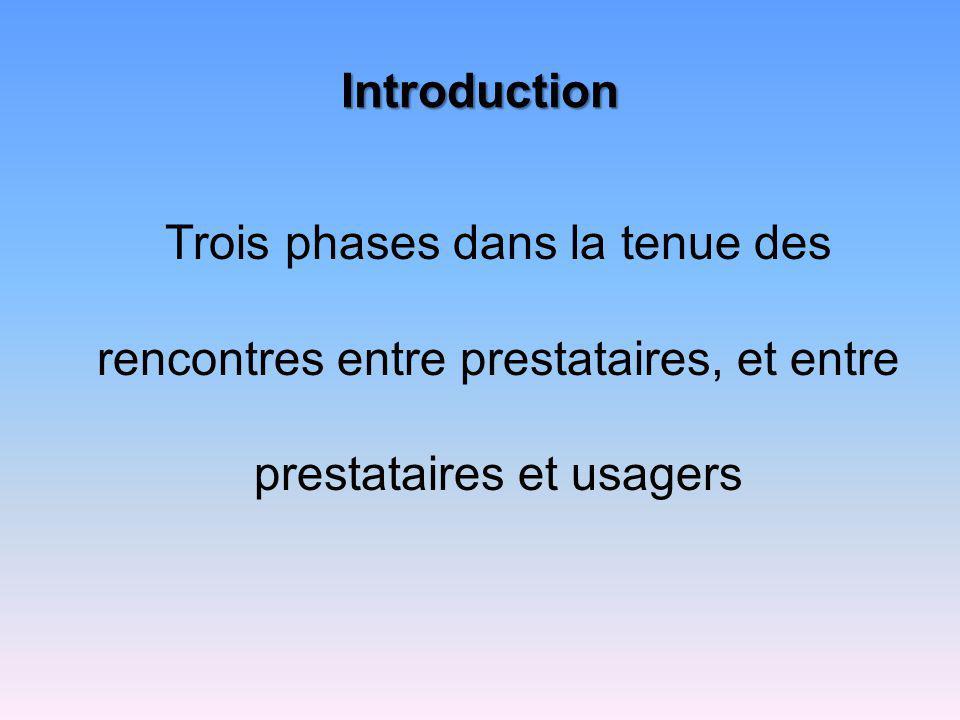 Introduction Trois phases dans la tenue des rencontres entre prestataires, et entre prestataires et usagers.
