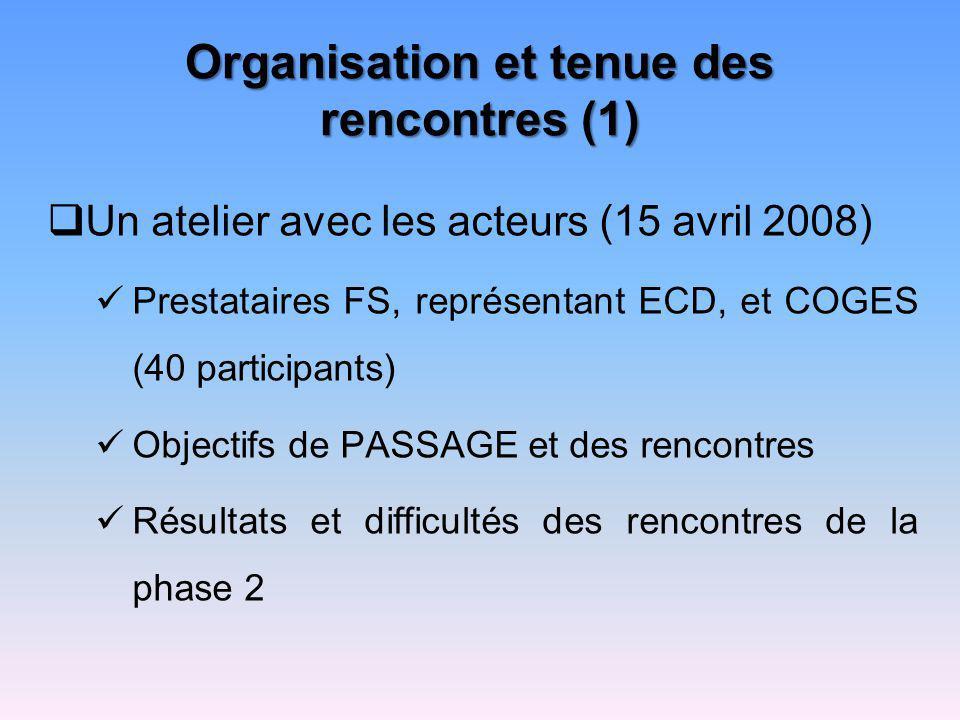 Organisation et tenue des rencontres (1)