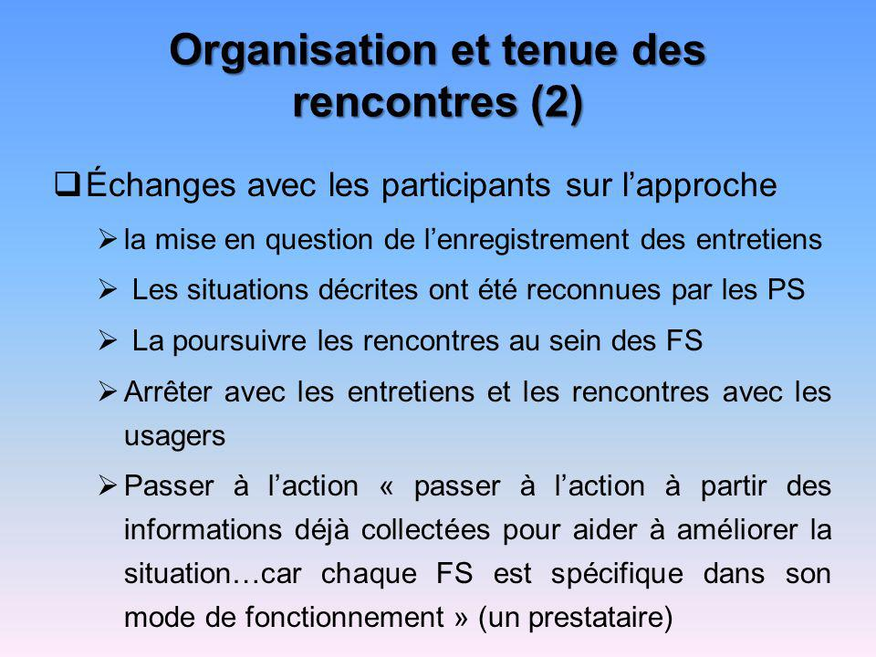 Organisation et tenue des rencontres (2)