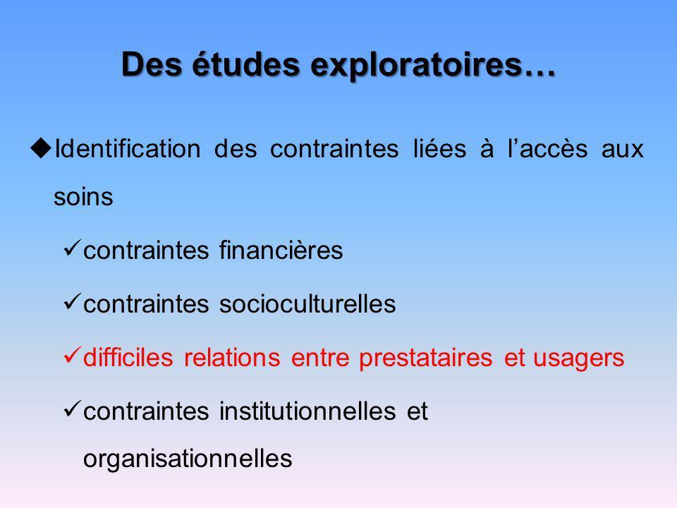 Des études exploratoires…