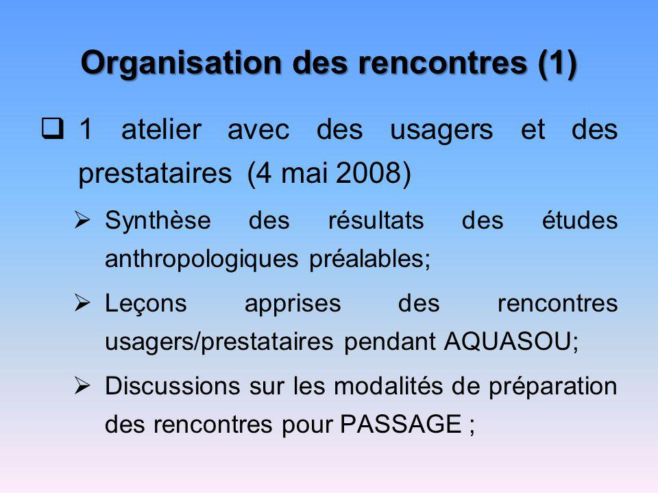 Organisation des rencontres (1)