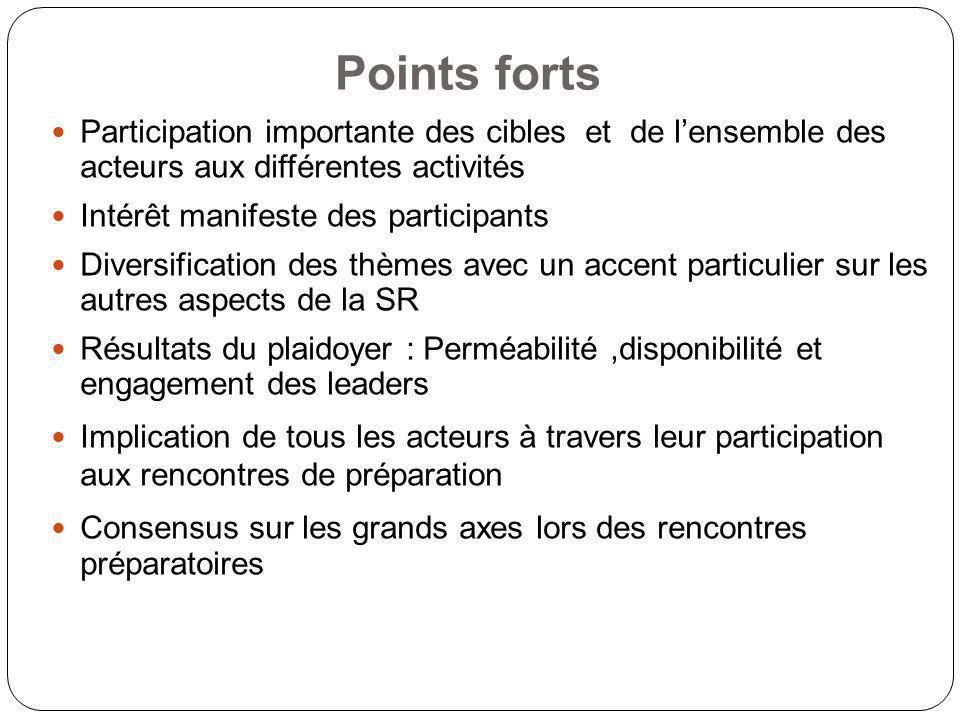 Points forts Participation importante des cibles et de l'ensemble des acteurs aux différentes activités.