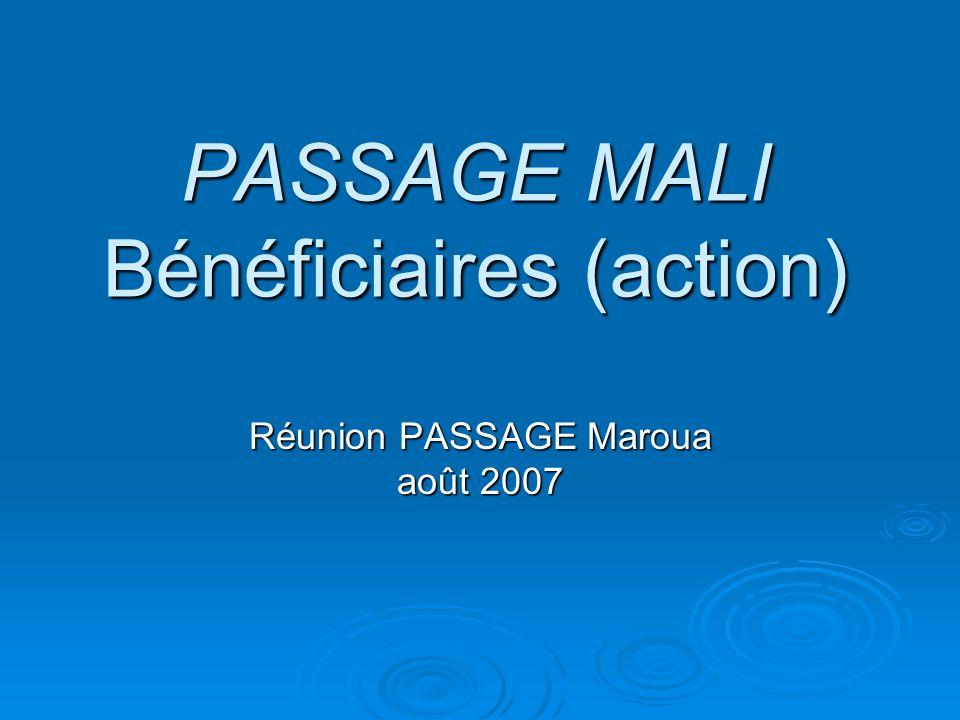 PASSAGE MALI Bénéficiaires (action)