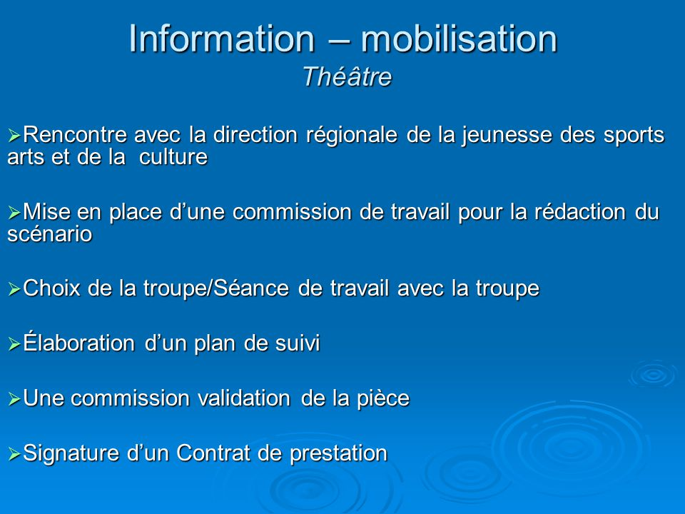 Information – mobilisation Théâtre
